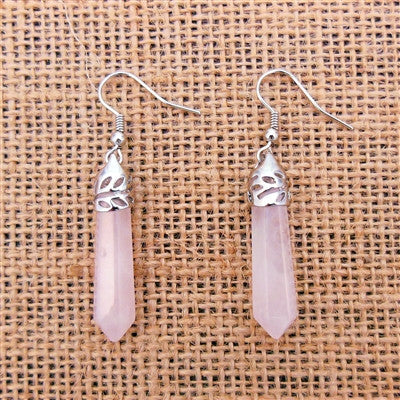 Rose Quartz Crystal Point Earrings