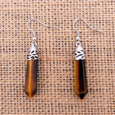 Tiger Eye Stone Point Earrings