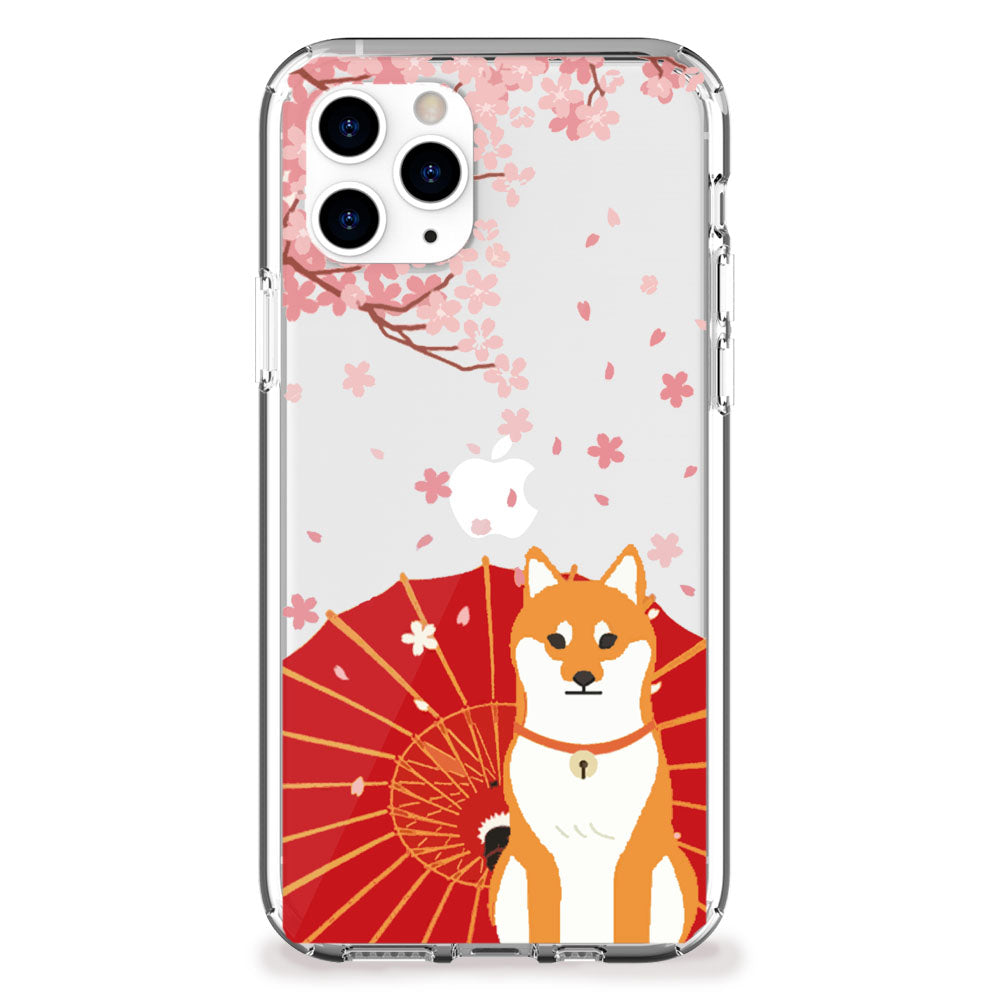Shiba Inu with Cherry Blossoms iPhone Case