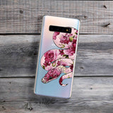 python with rose pattern phone case