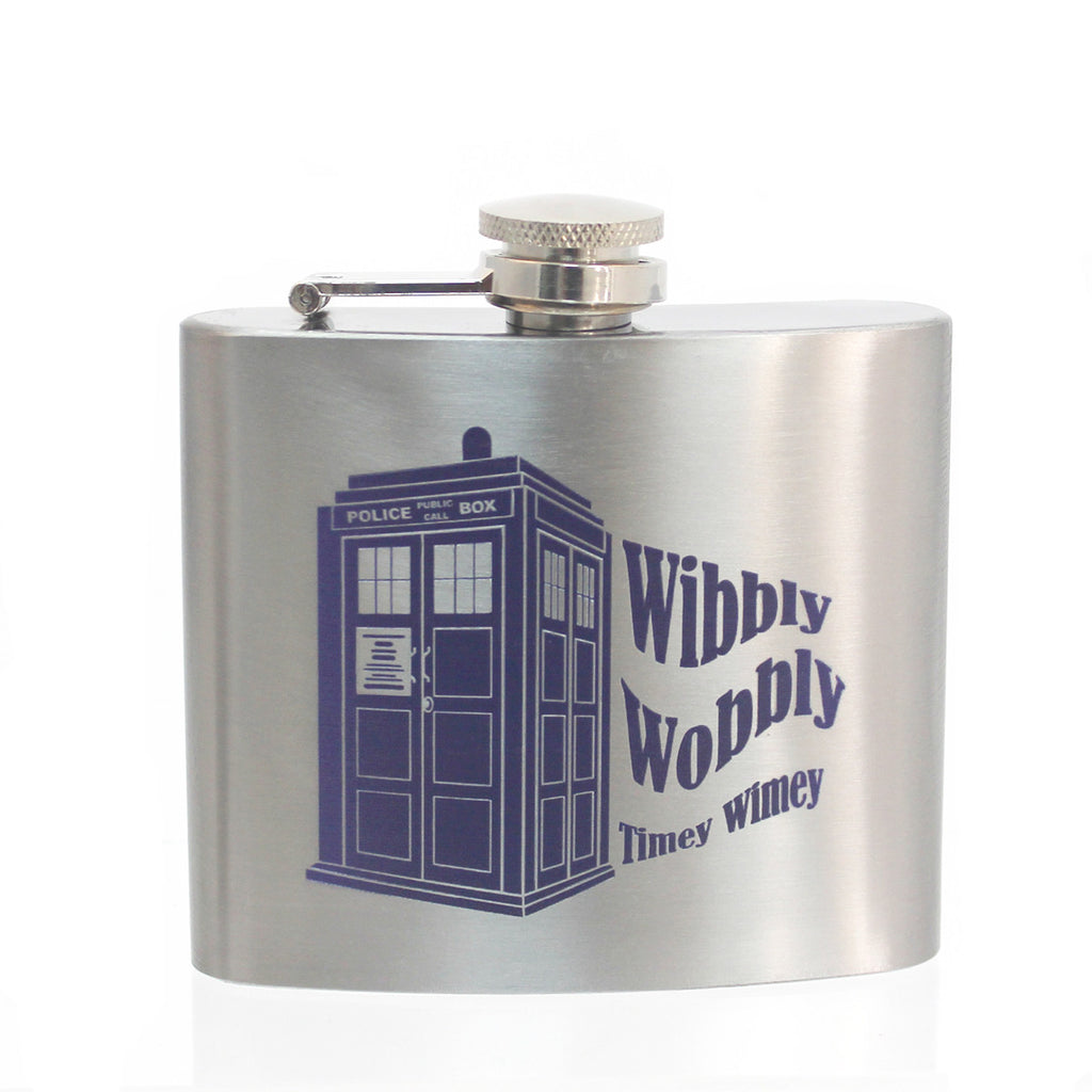 Steel 5oz Flask - Wibbly Wobbly Tardis