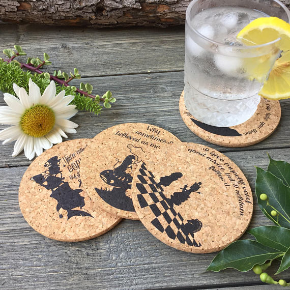 alice in wonderland quotes cork coaster set