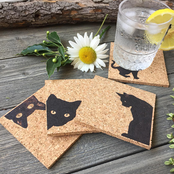 black cat design cork coasters set of four