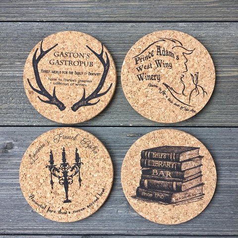 Beauty and the Beast Themed Cork Coaster Set of 4