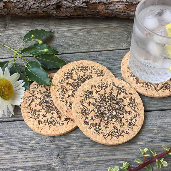 Henna Flower Cork Coaster Set of 4