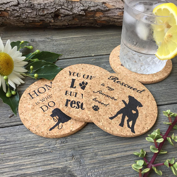 Dog Adoption Themed Cork Coaster Set of 4