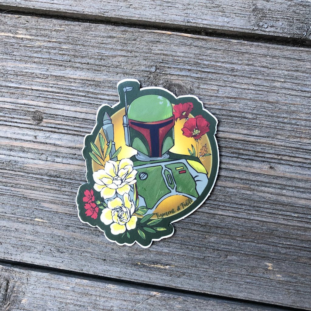 galactic bounty hunger vinyl sticker