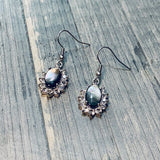 Black Shell and Crystal Dangle Earrings