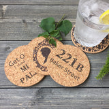Sherlock Themed Cork Coaster Set of 4 (Set B)