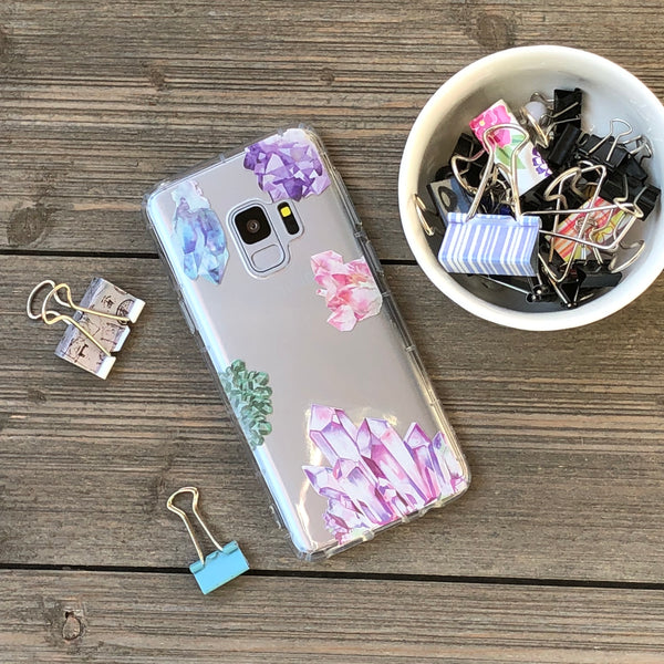 crystal clusters artwork samsung galaxy phone case