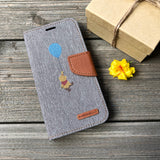 Pooh Bear - Grey Canvas Wallet Case for iPhone