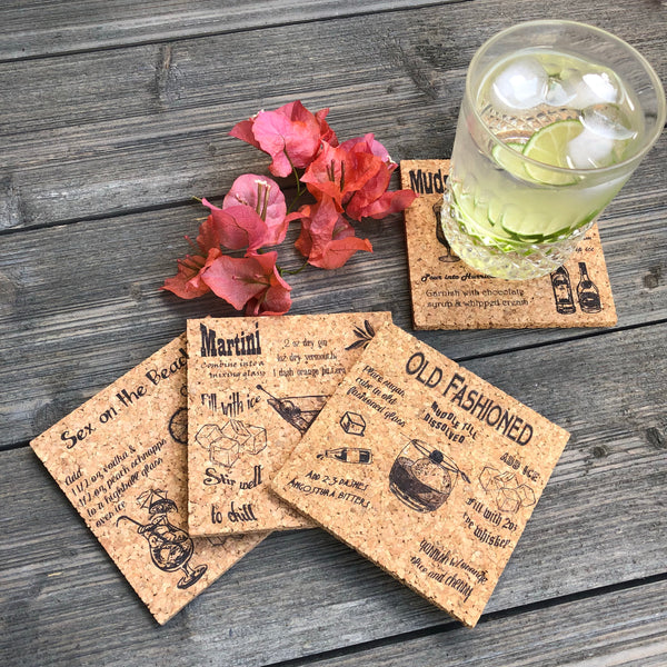 Cocktail Drinks Cork Coaster Set of 4