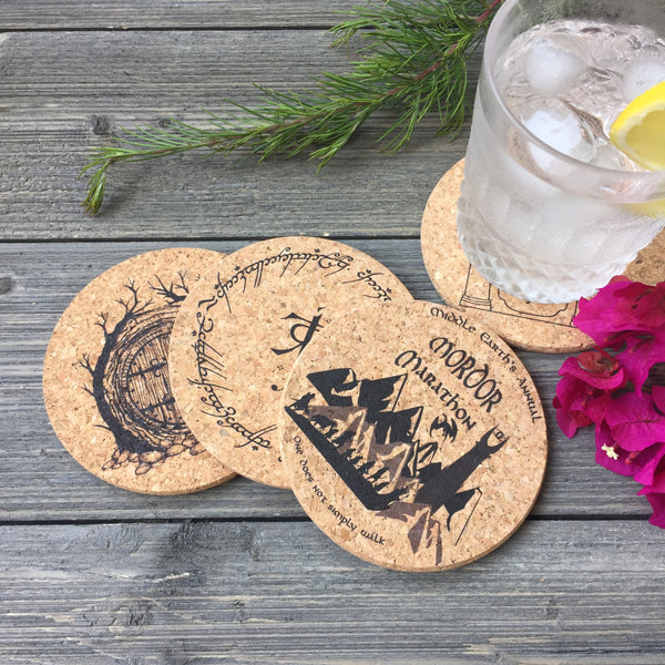Lord of the Rings Themed Cork Coaster Set of 4