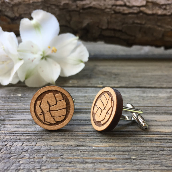 Hulk Fist Wooden Cufflinks