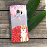 Shiba Inu with Cherry Blossoms Samsung Galaxy Case
