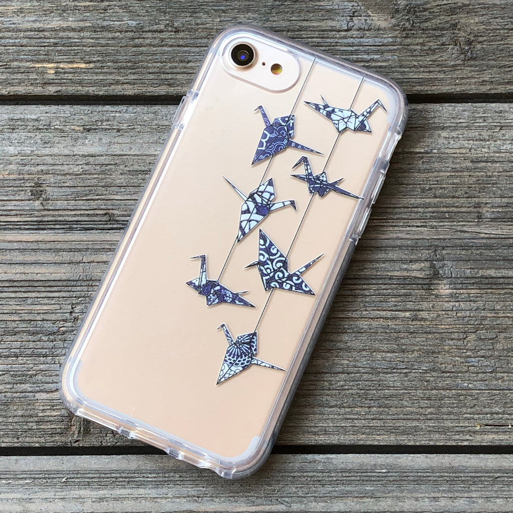 Origami Cranes Blue Wagara iPhone Case