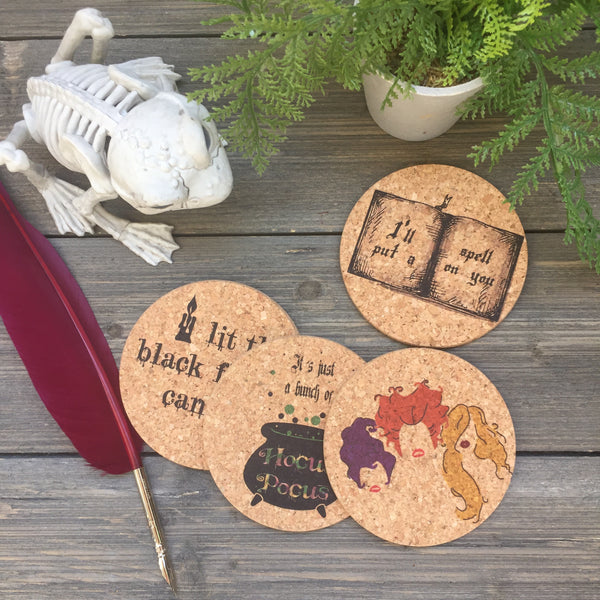 Witchcraft Themed Cork Coaster Set of 4