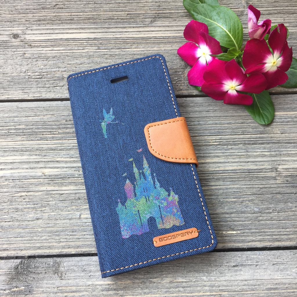 Paint Splatter Castle - Blue Canvas Wallet Case for iPhone