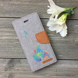 Paint Splatter Castle - Grey Canvas Wallet Case for iPhone