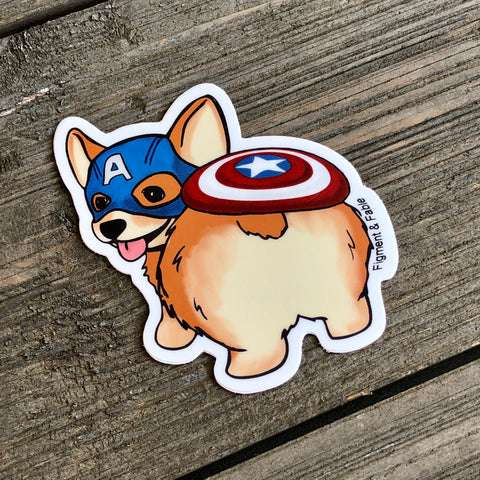 Captain Corgi Vinyl Sticker