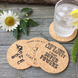 Science Humor Cork Coaster Set of 4