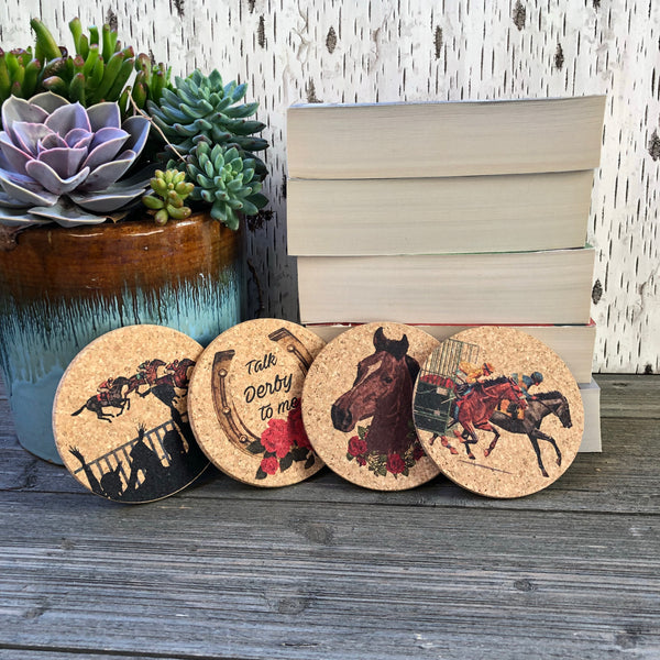 Day at the Races Cork Coaster Set of 4