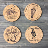 Peter Pan Brewery Themed Cork Coaster Set of 4