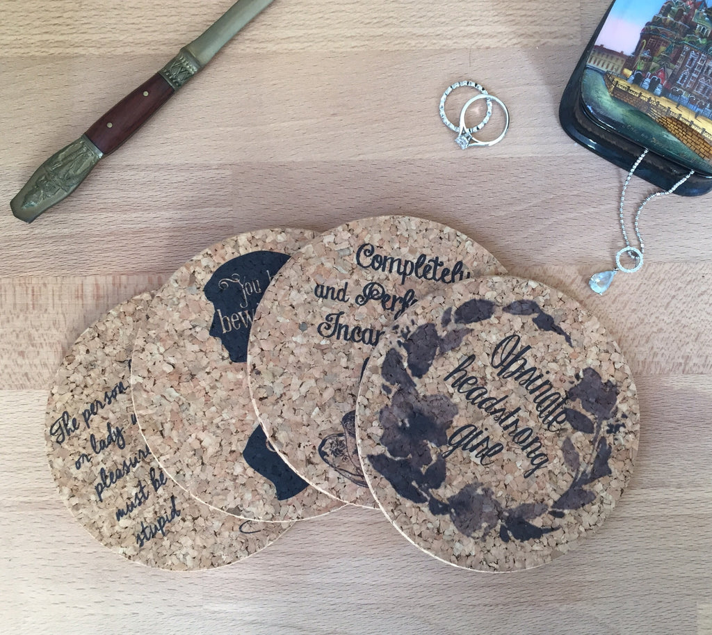 Jane Austen Cork Coaster Set of 4
