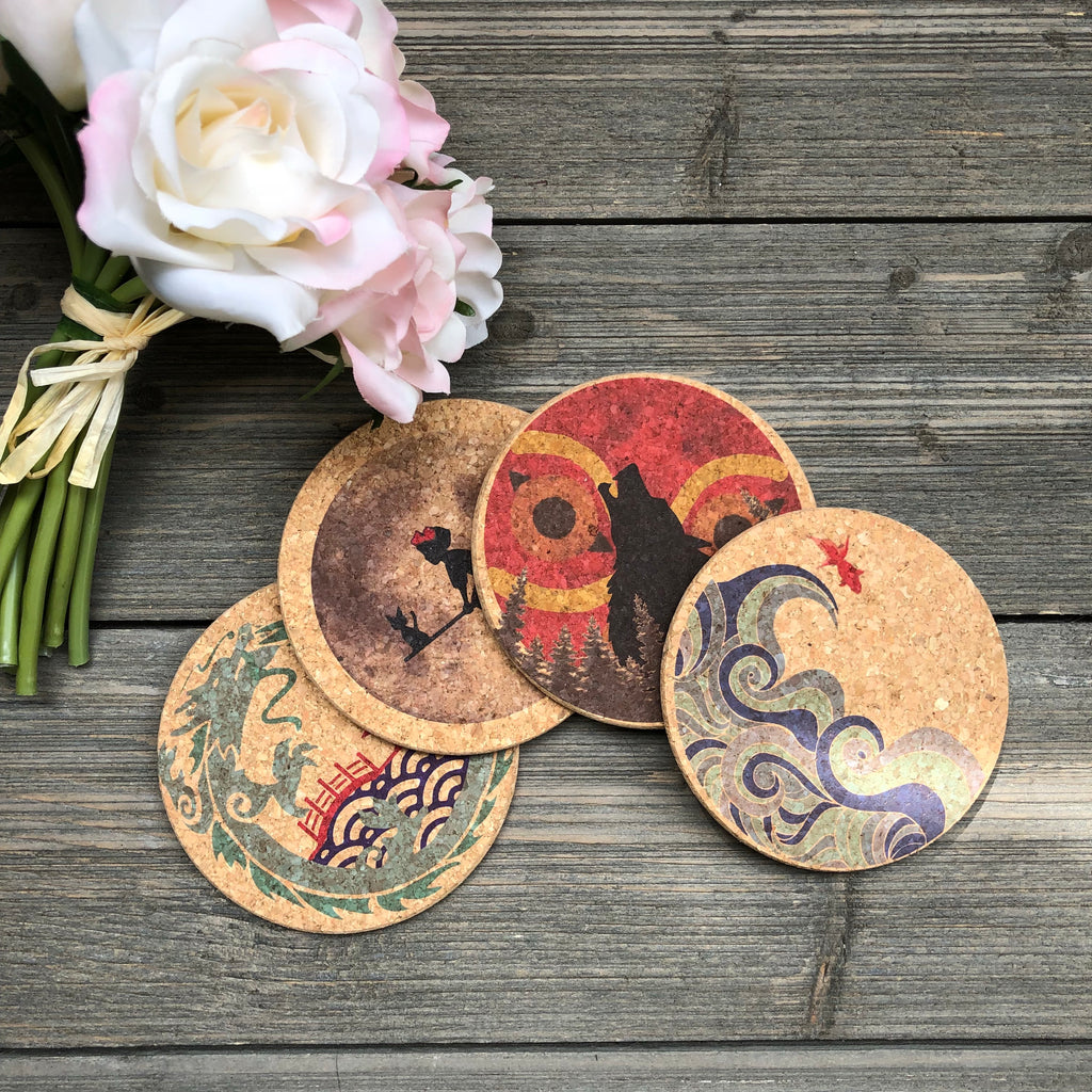 Japanese Anime Themed Cork Coaster Set of 4