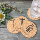 Vintage Wine Corkscrews Cork Coaster Set of 4