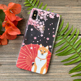 shiba inu with cherry blossoms phone case