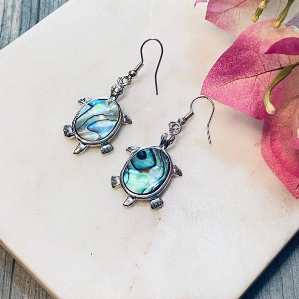 Tortoise Abalone Shell Earrings