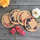Flower Wreaths Cork Coaster Set of 4