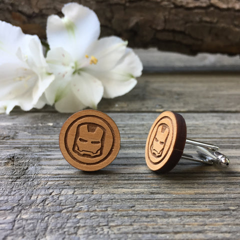 Iron Man Wooden Cufflinks