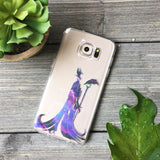 dark sorceress silhouette with cosmic pattern samsung galaxy phone case