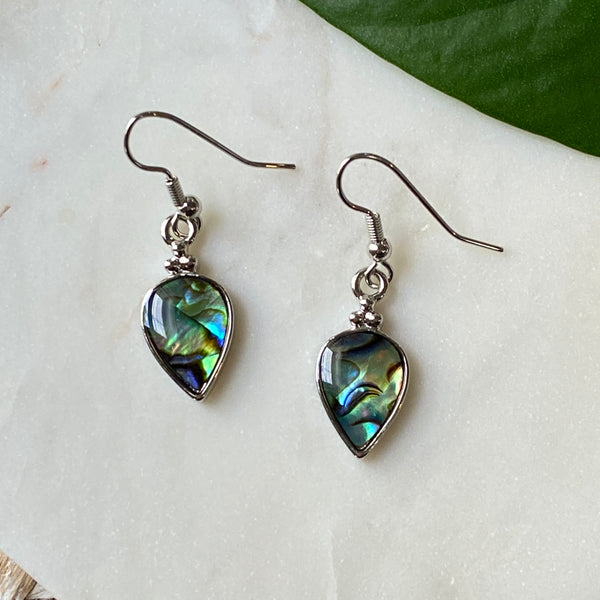 Dangle Pear Shape Abalone Earrings