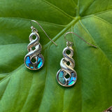 Paua Shell Spiral Twist Earrings
