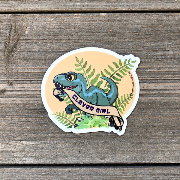 Clever Girl Dinosaur Vinyl Sticker