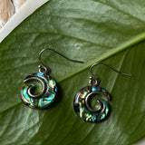 abalone shell swirl earrings on hooks