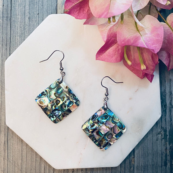 Diamond Mosaic Shell Earrings