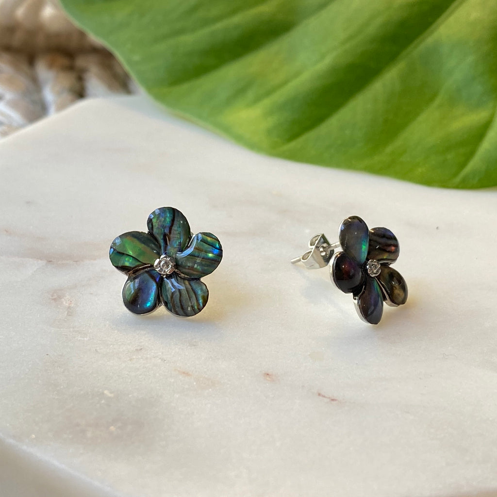Plumeria Flower Stud Earrings