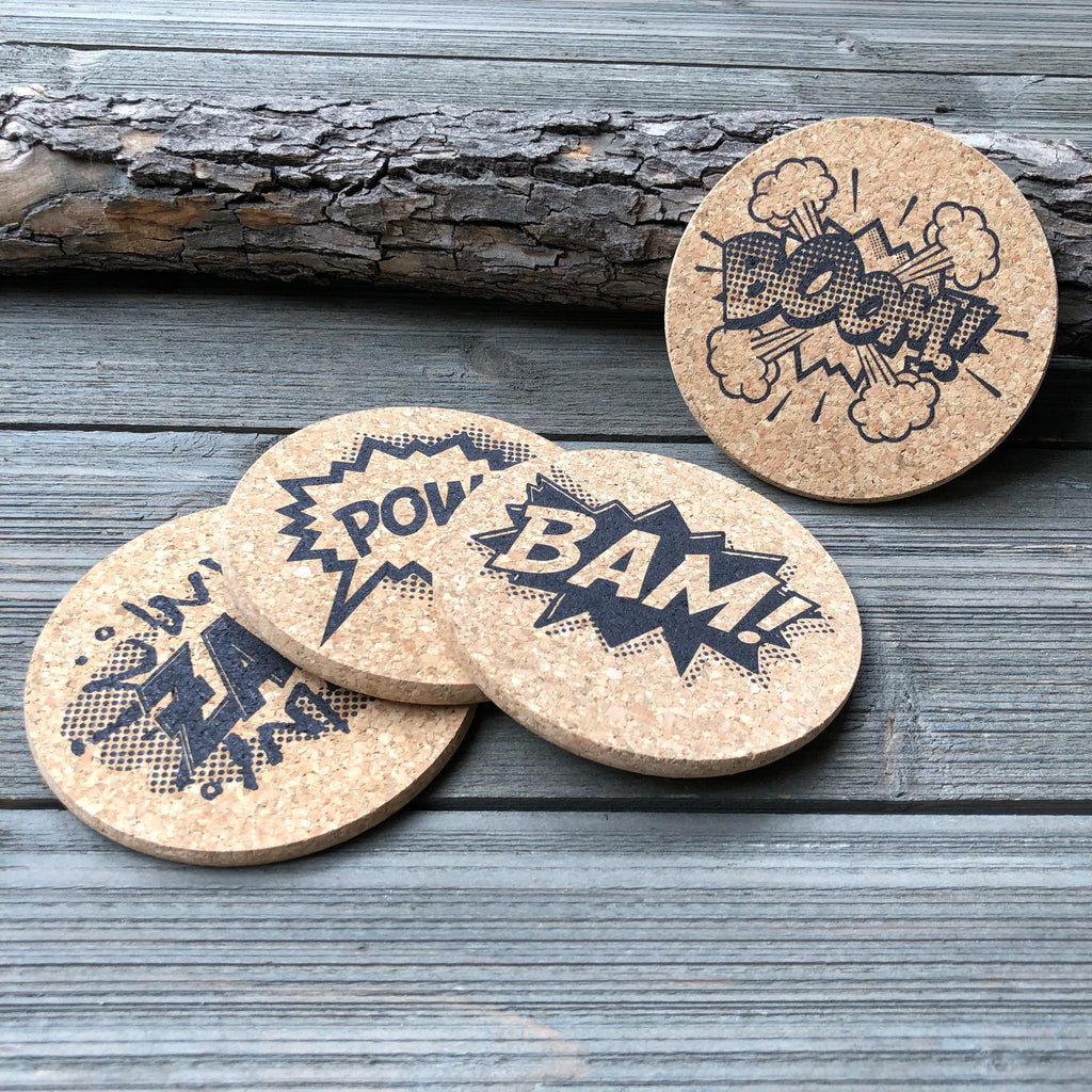 comic book speech bubbles cork coasters