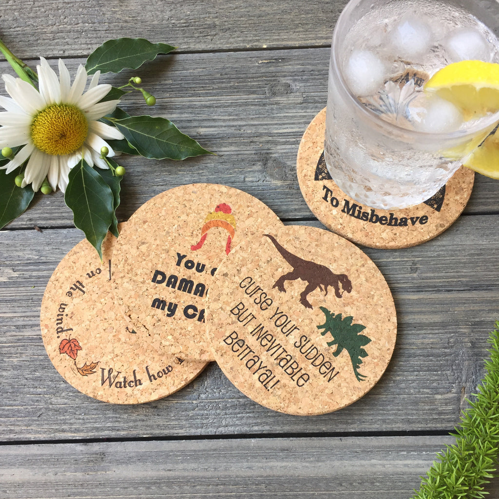 Firefly Themed Cork Coaster Set of 4