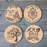 Snow White Themed Cork Coaster Set of 4