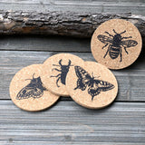insect linocut art cork coasters