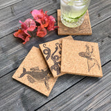 Nautical Themed Cork Coaster Set of 4
