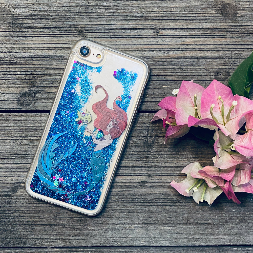 blue glitter iphone case mermaid princess