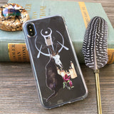black cat with candles and wiccan symbol phone case