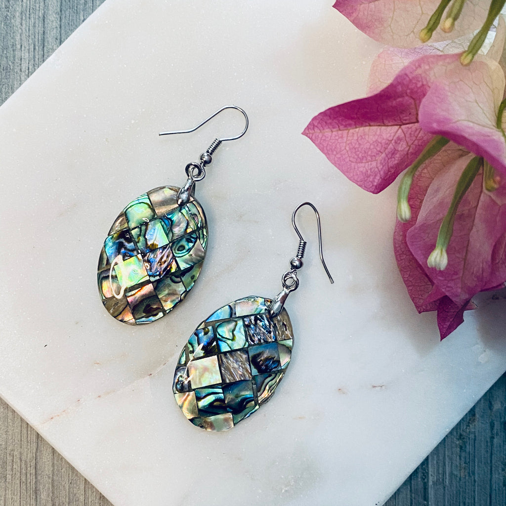 Oval Mosaic Shell Earrings