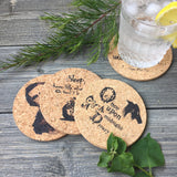 Edgar Allan Poe Themed Cork Coaster Set of 4